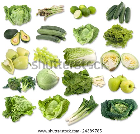 green fruits and vegetable - stock photo