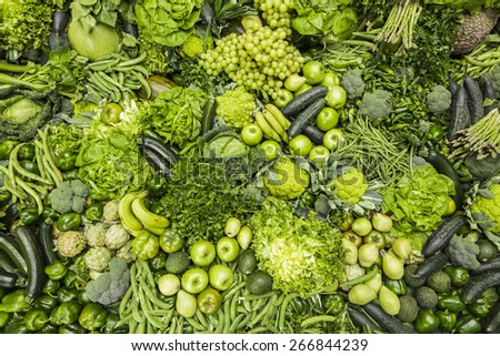 Green fruits and vegetables - stock photo