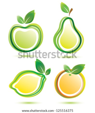 green fruits icons set, bio food concept. raster version - stock photo