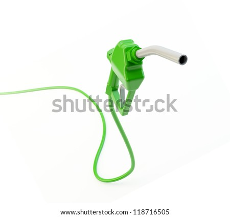 Green fuel nozzle - eco-friendly and biofuel concept - stock photo