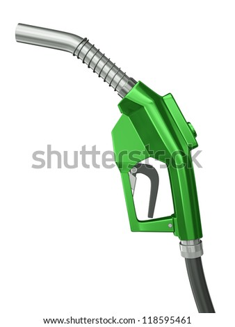 Green fuel nozzle isolated on white background. 3D render. - stock photo