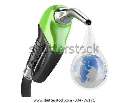 Green fuel pump nozzle and drop water with earth. Bio fuel concept. - stock photo