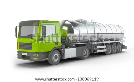 Green Fuel Tanker Truck isolated on white background - stock photo