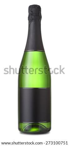 Green full champagne bottle - stock photo