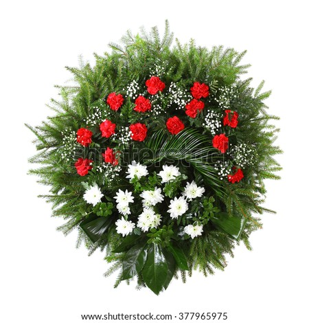green funeral fir wreath isolated on white