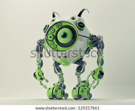 Green futuristic creature with antenna's and many eyes. 3d render / Bright cyber toy - stock photo