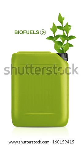 Green Gallon of bio fuel, environment conceptual design.  (with clipping work path) - stock photo