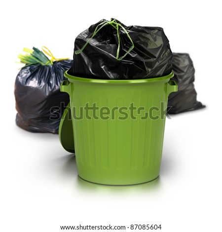 green garbage can over a white background with a plastic closed bag inside and two other plastic bags at the rear side - studio shot plus 3d trash - stock photo
