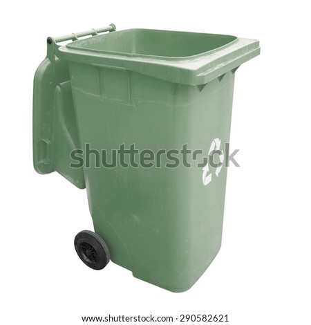 Green garbage plastic bins isolated on white background. This has clipping path.