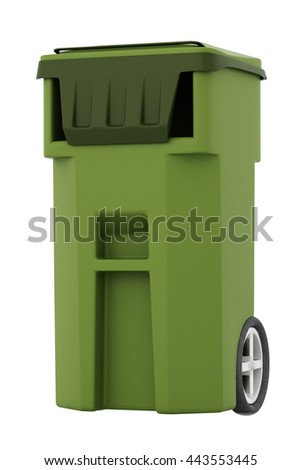 Green garbage, trash bin isolated on white background. Include clipping path. 3d render
