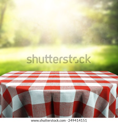 green garden and table  - stock photo