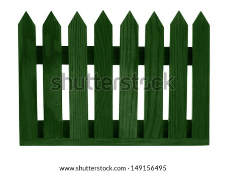 Green garden fence panel, isolated on white background - stock photo