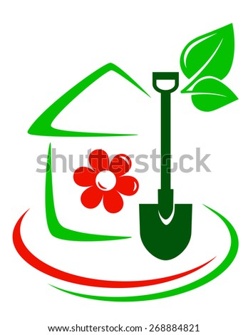 green garden icon with house, flower, shovel and decorative line - stock photo