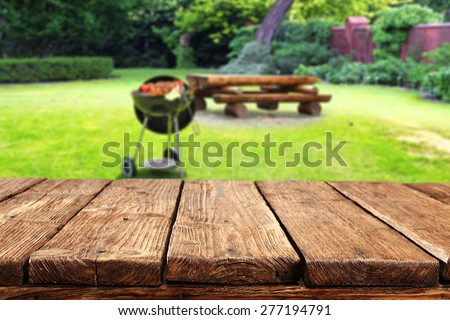 green garden of grill and dirty old top  - stock photo