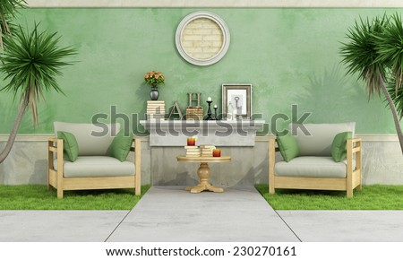 Green garden with two armchair on grass against old wall - 3D Rendering - stock photo