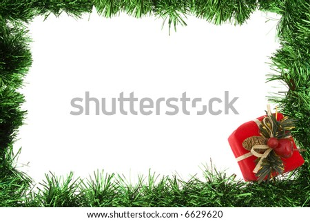 Green garland border with present - stock photo
