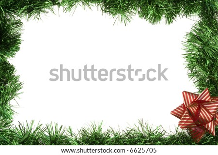 Green garland frame with bow isolated over white - stock photo