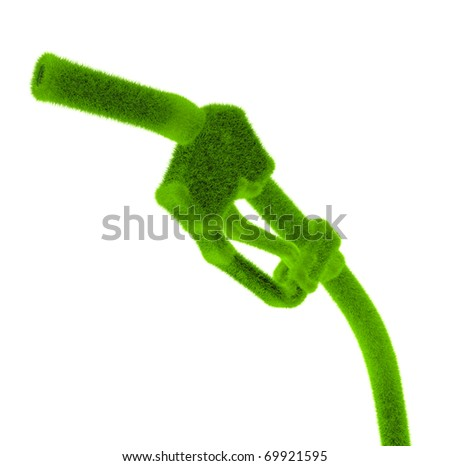 Green gas nozzle for eco fuel - stock photo