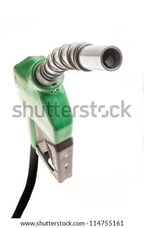 Green gas nozzle on white background