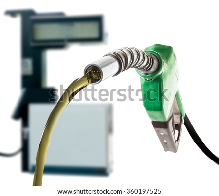 Green gas nozzle on white background - stock photo