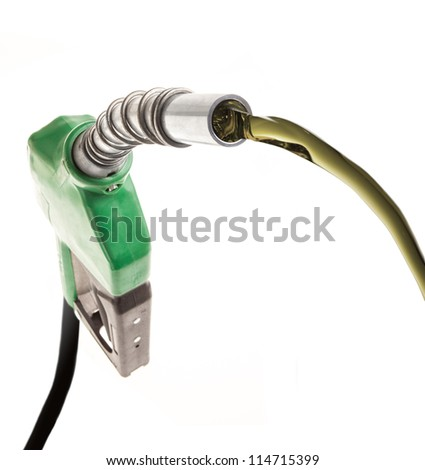 Green gas nozzle with flowing fuel on white background - stock photo