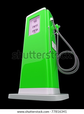 Green gas pump isolated over black background. Bottom side view - stock photo