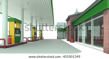 Green gas station isolated on white background. 3D render. Isolated - stock photo