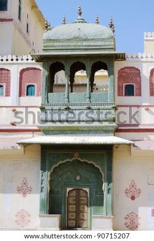 Green gate at Pritam Niwas Chowk at City Palace, Jaipur. Green gate represents the Spring season. - stock photo