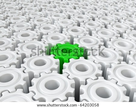 Green gear different from the others - stock photo