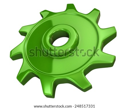 Green gear isolated on white background - stock photo