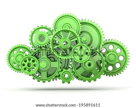 Green gears on white isolated background. 3d