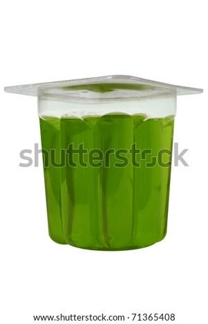 green gelatin glass on a white background - stock photo