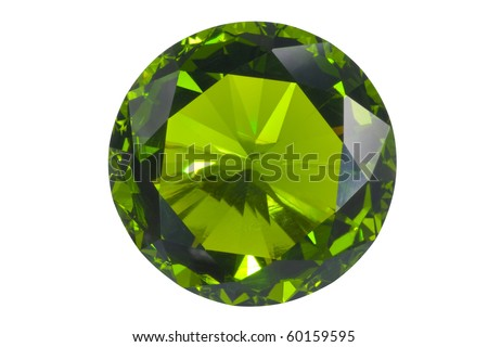 green gem isolated on white - stock photo