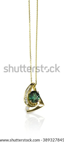 Green Gemstone Pendant Necklace isolated on white - stock photo