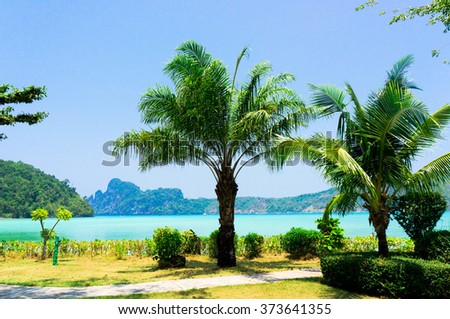 Green Getaway Jungle Lagoon  - stock photo