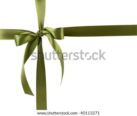 Green gift bow and ribbon against a white background. - stock photo