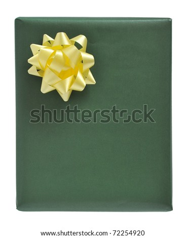 green gift box isolated on white background