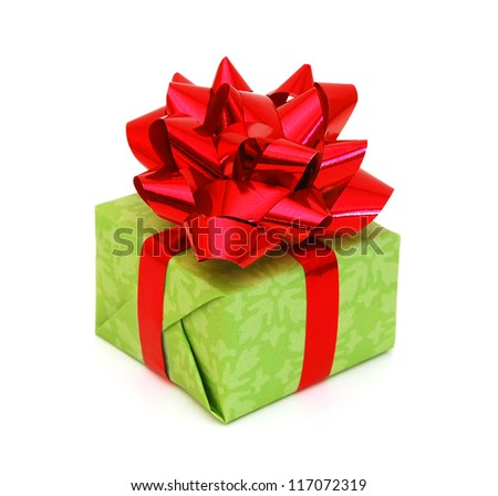 Green gift box with ribbon and bow isolated on the white background, clipping path included - stock photo