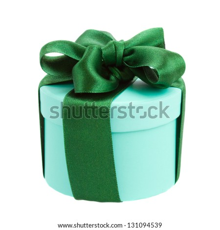 green gift box with  ribbon and bow isolated on white background - stock photo