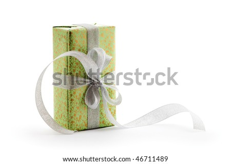green gift box with silver ribbon - stock photo