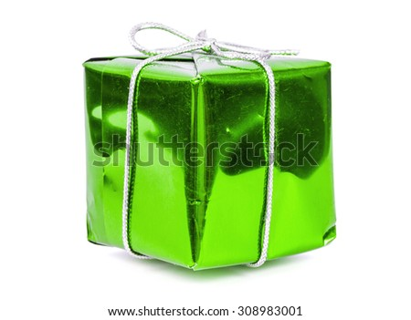 Green gift box with silver ribbon isolated on white background with clipping path - stock photo