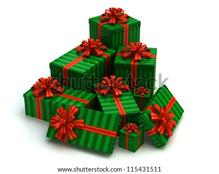 Green Gift christmas boxes isolated on white - stock photo