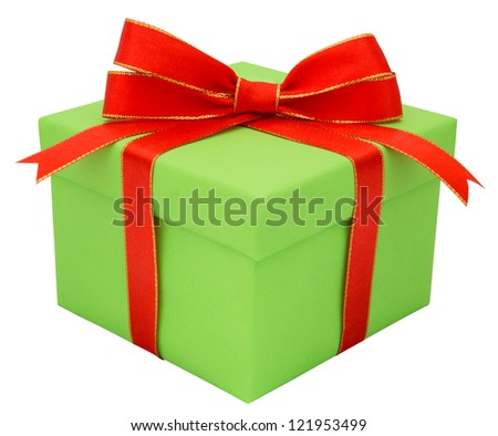 Green gift with a red tape isolated on a white background - stock photo
