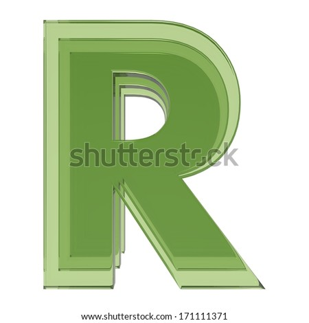 green glass ABC, letter R isolated on white background
