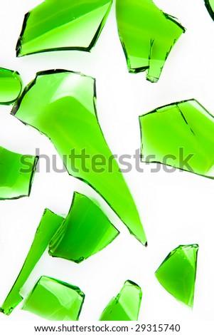 green glass broken into slices - stock photo