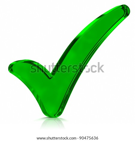Green glass check mark symbol. Part of a series. - stock photo