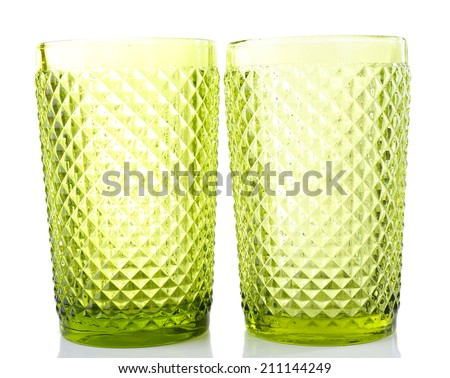 Green glass isolated on white - stock photo