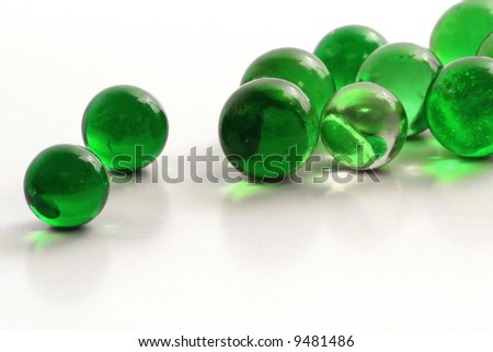 Green Glass Marbles - stock photo