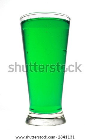 Green glass of water isolated on white with work path. - stock photo