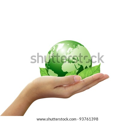 Green global and leaf in hand